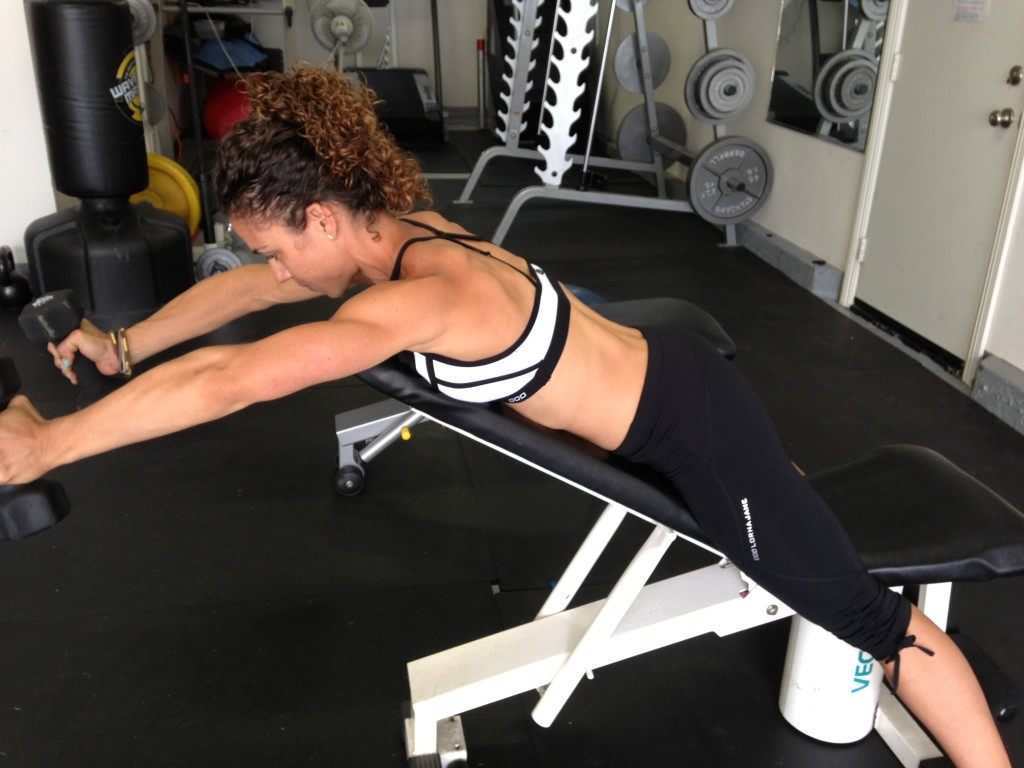front raise on incline bench