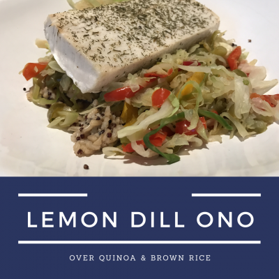 Lemon Dill Ono over Brown Rice & Quinoa Cabbage Saute - Gina Aliotti ...